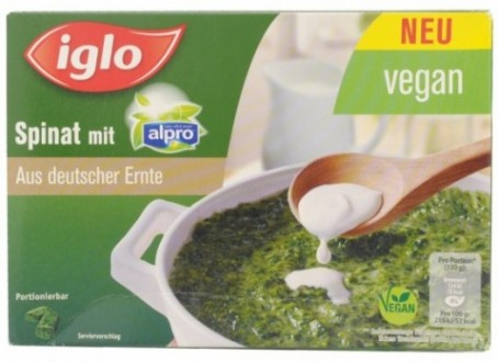 Iglo Spinach with Alpro Soy Drink
